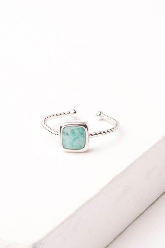 Gianna Silver Turquoise Square Ring by Starfish Project