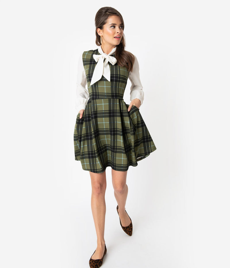 Smak Parlour Hunter Green Plaid Fit & Flair Dress