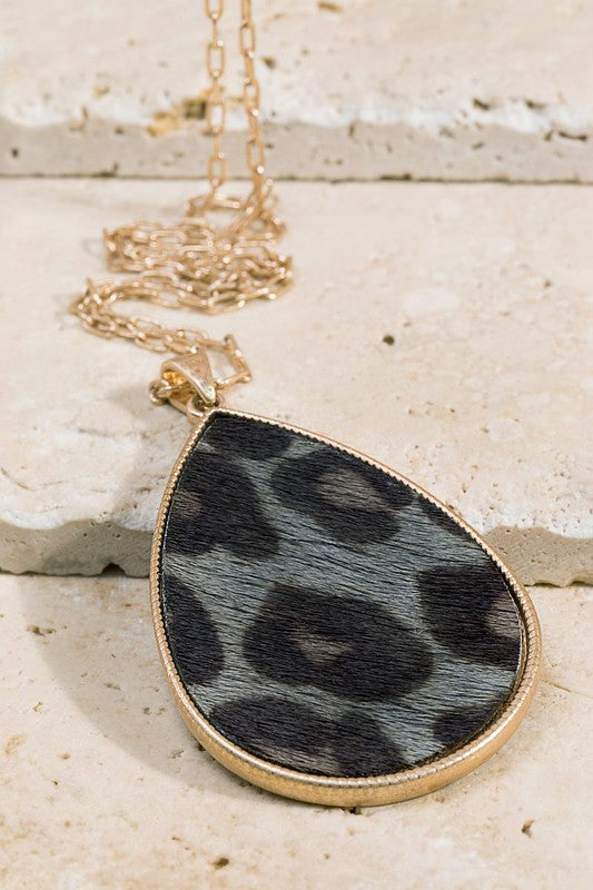 Faux Leather Animal Print Teardrop Pendant