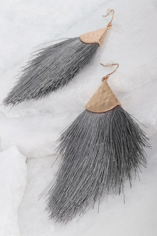 Fringe Earrings in Dark Grey