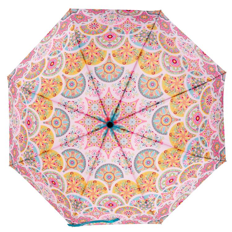 Pink Medallion Travel Umbrella