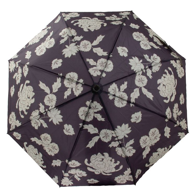 Black and Cream Floral Travel Umbrella