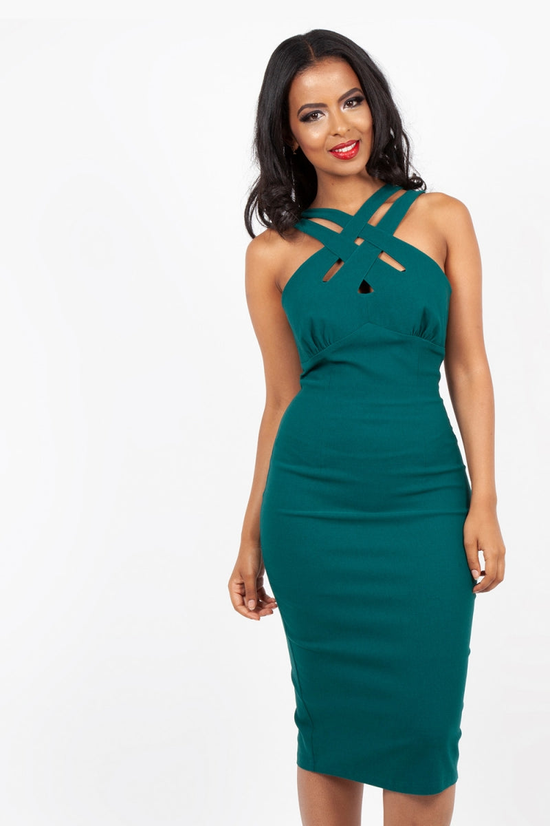 Cross Neck Wiggle Pencil Dress