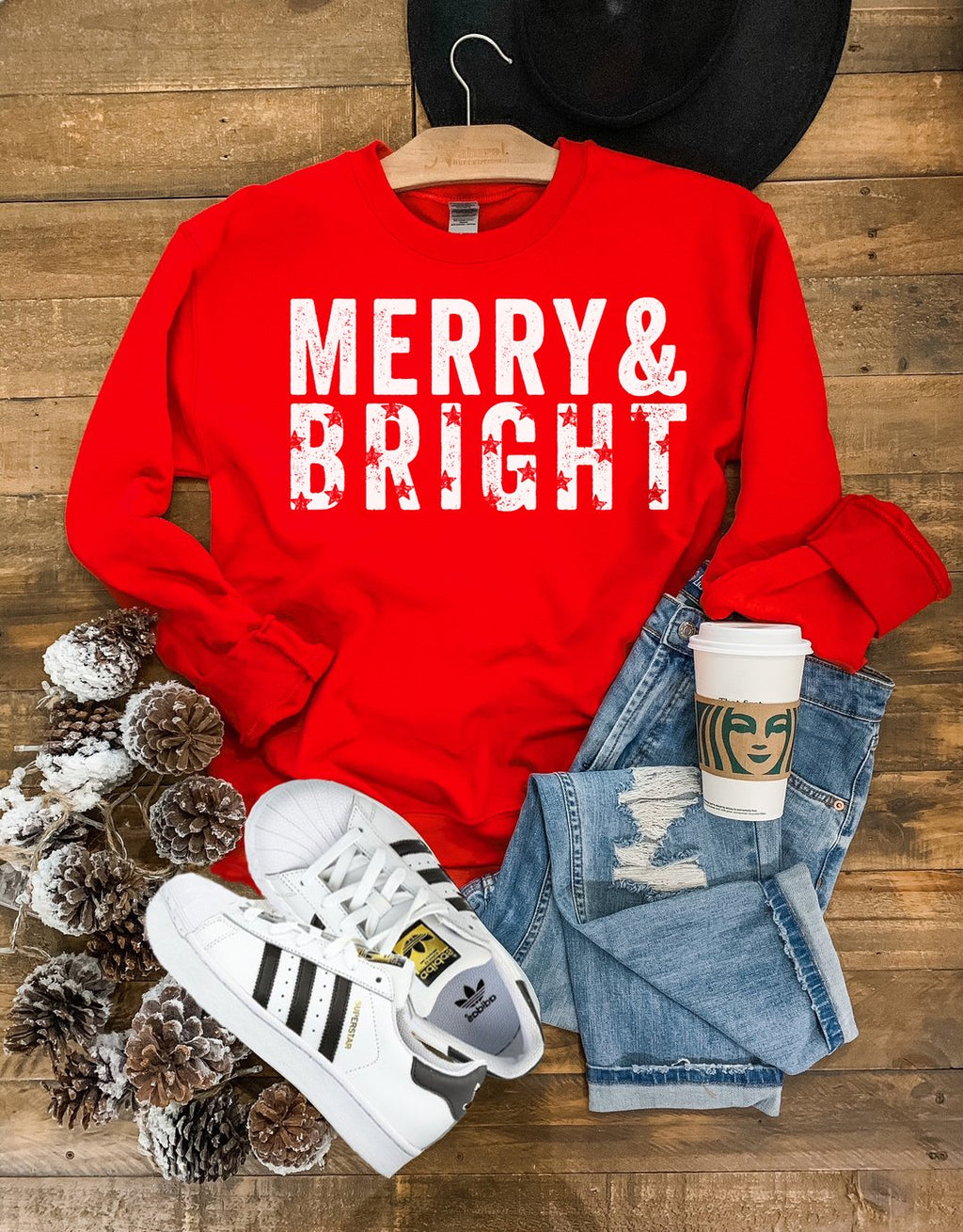 Merry & Bright Sweatshirt in Red