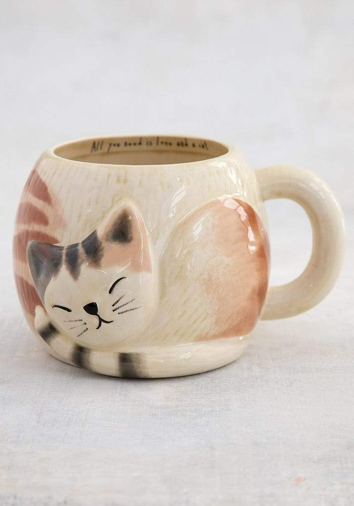 Sleeping Cat Folk Art Mug