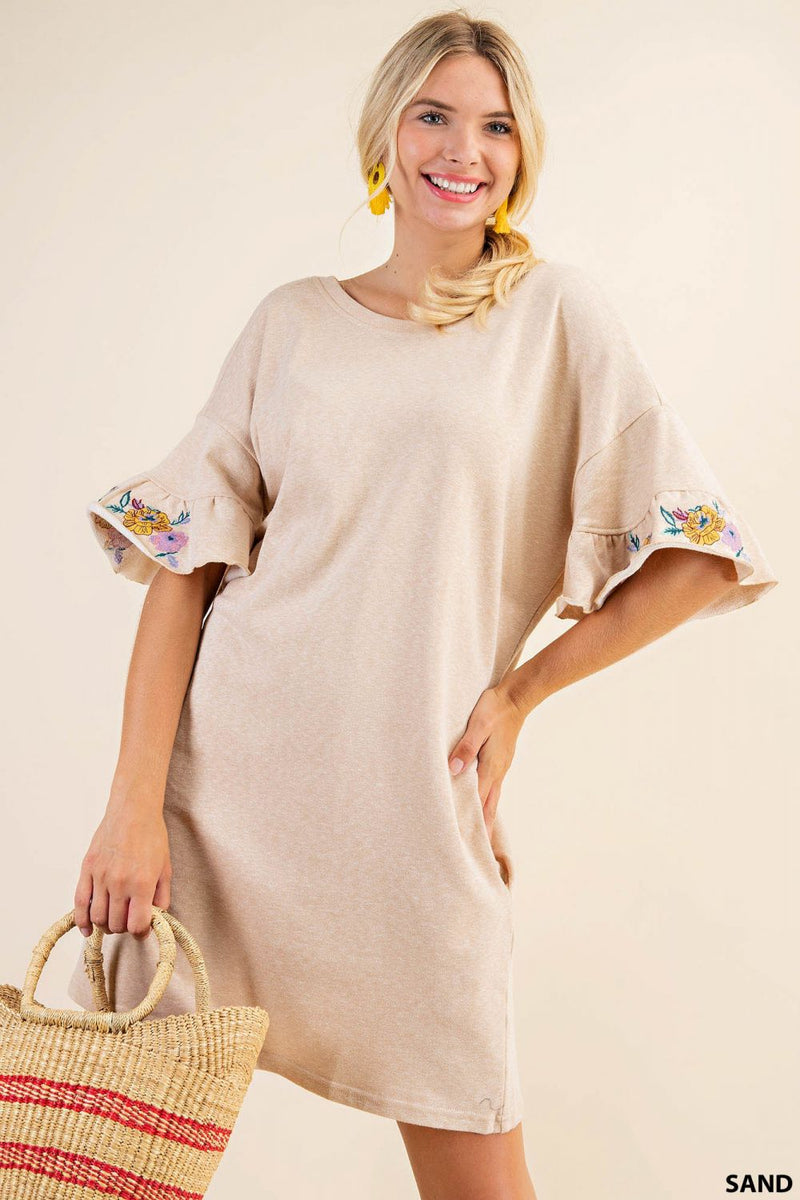 Gwendolyn Embroidered Frill French Terry Dress