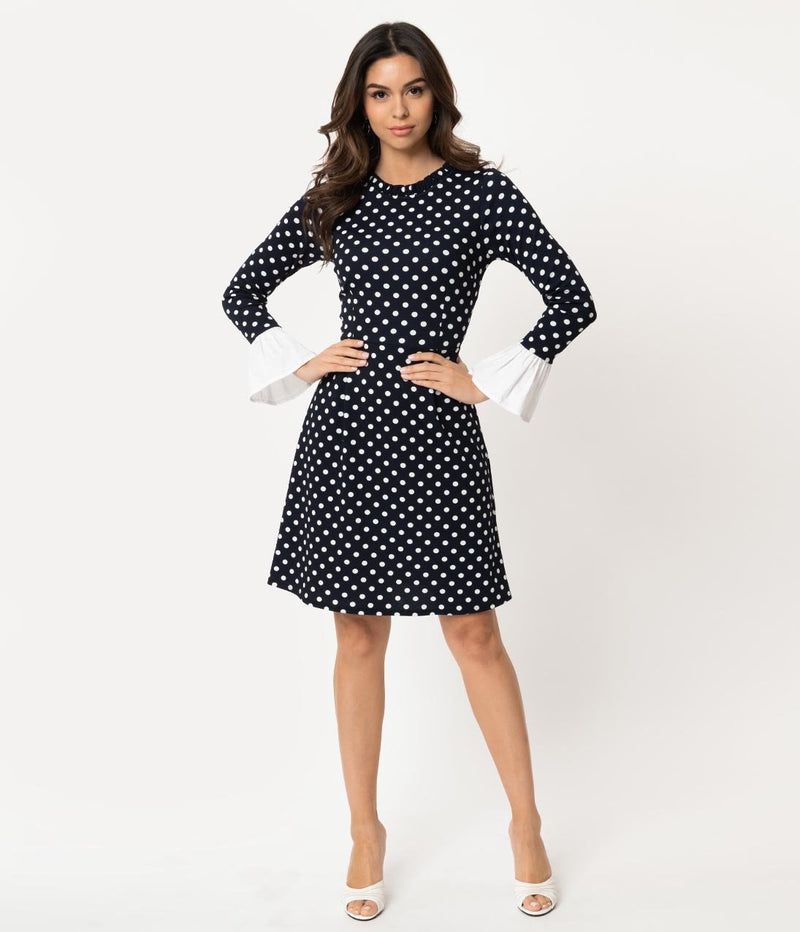 Smak Parlour Vintage Navy and White Polka Dot Doll Gang Fit & Flare Dress