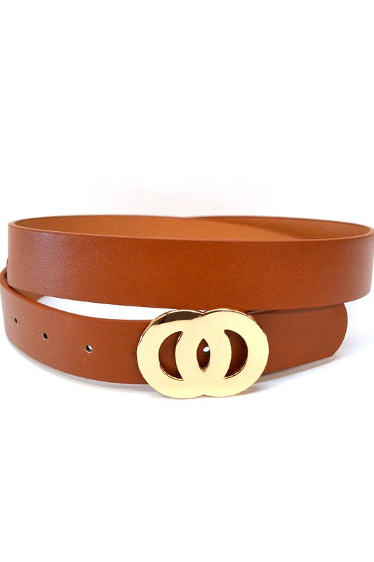 Double O Buckle Belt in Black or Camel
