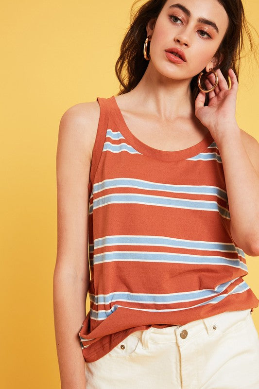 Stripe Knit Sleeveless Top