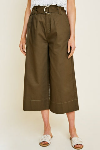 Paper Bag Twill Pants in Olive