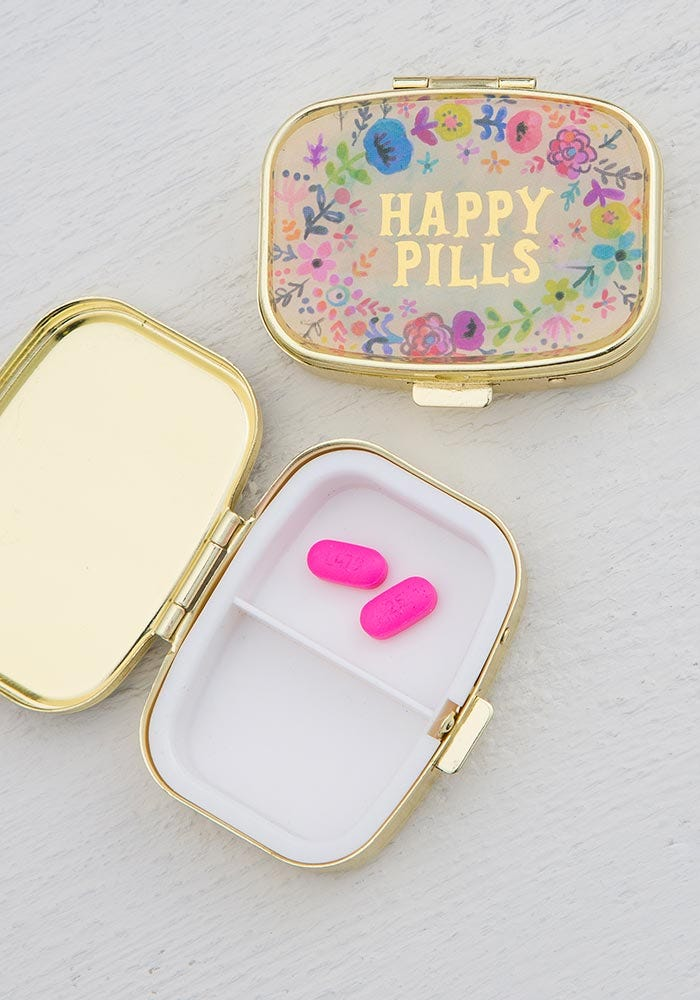 Happy Pills Pill Box in Dainty Floral