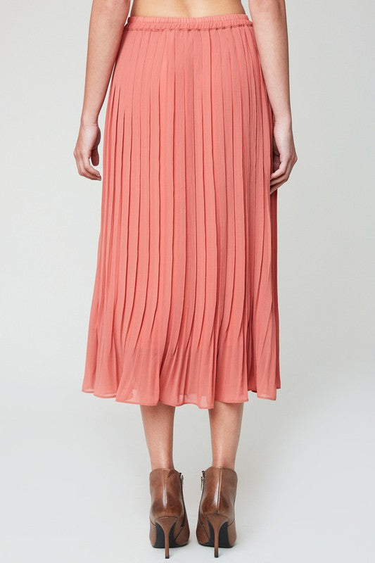 Pleated Midi Skirt in Dusty Rose