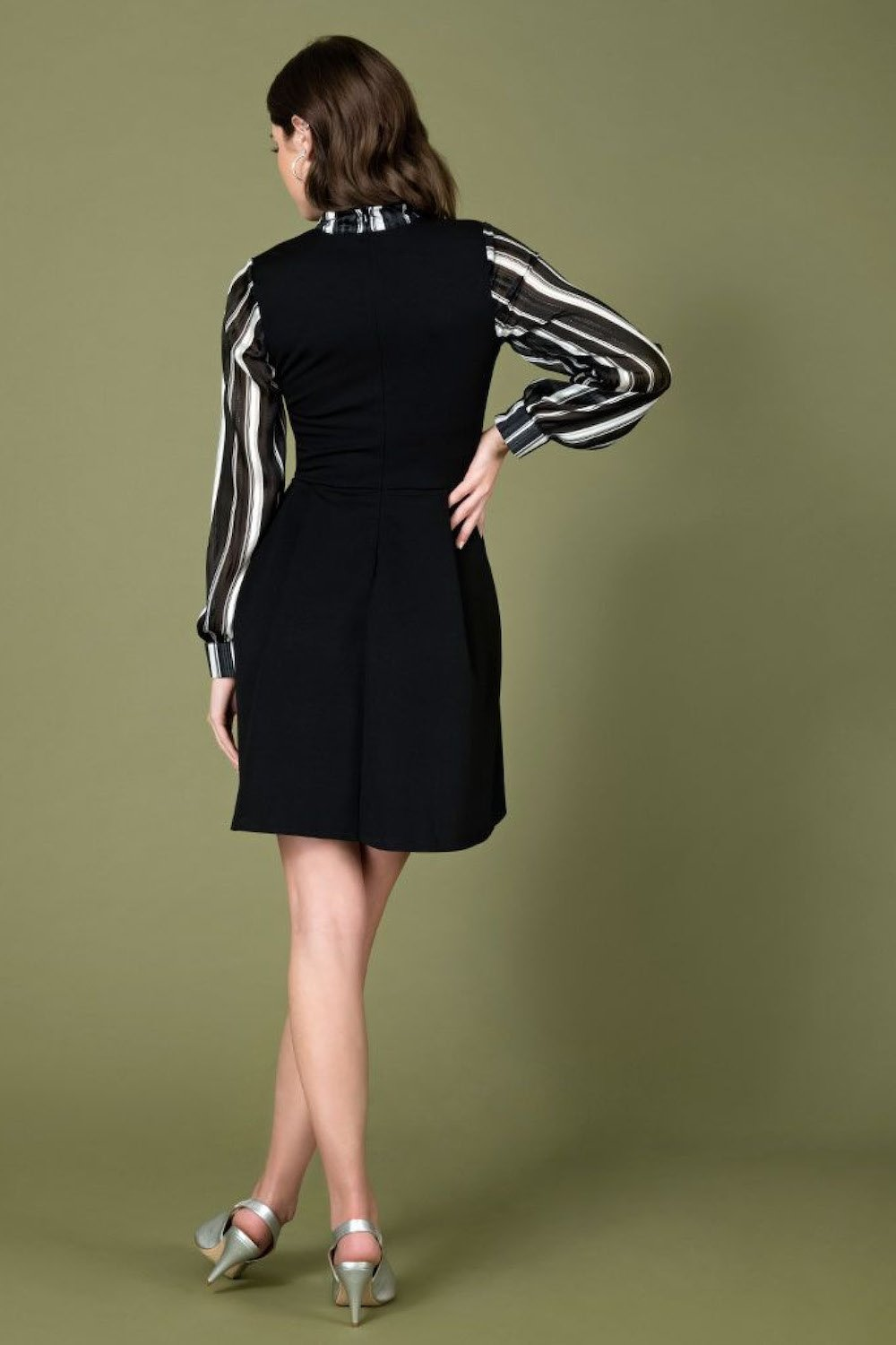Black & Ivory Stripe Chiffon Sleeve She .E.O. Fit & Flare Dress by Smak Parlour