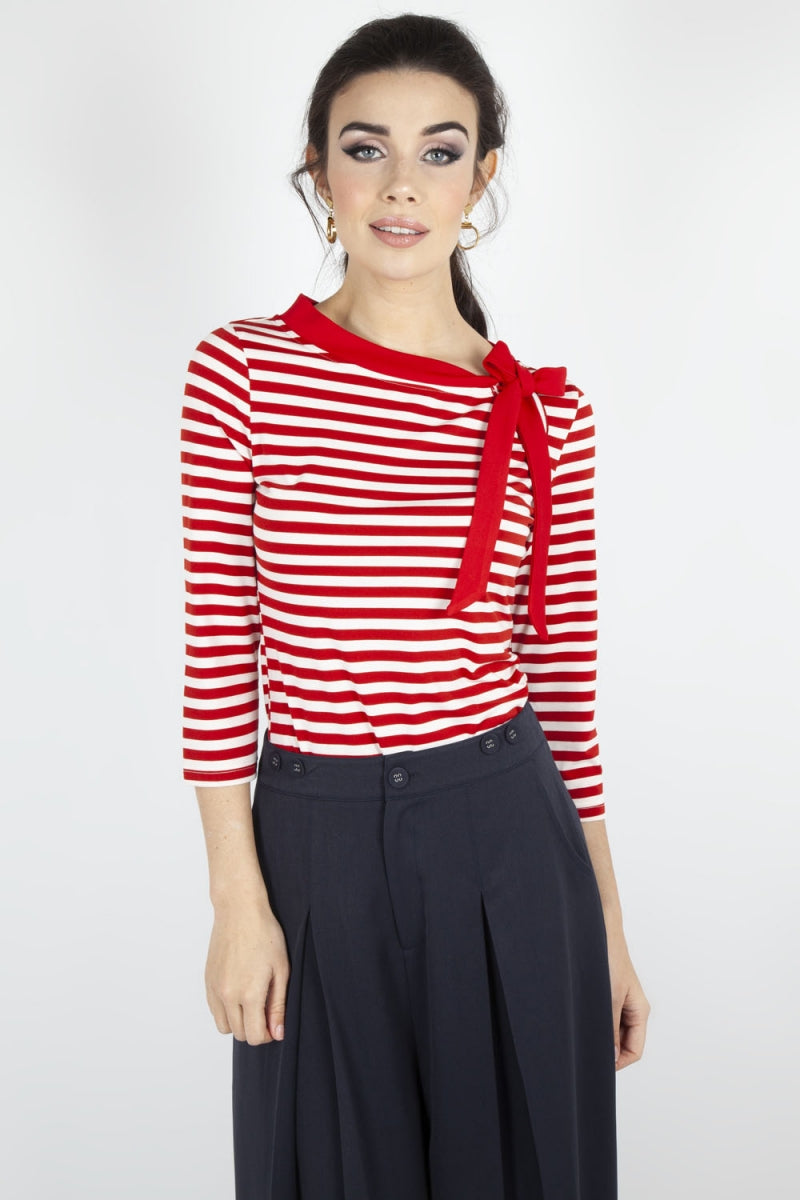 Candy Stripe Knit Top With Side Bow