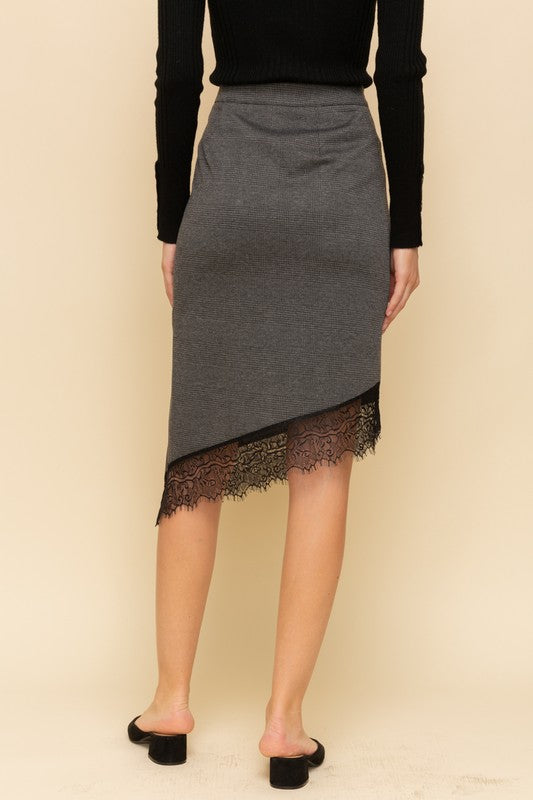 Eyelash Lace Hem Asymmetrical Skirt