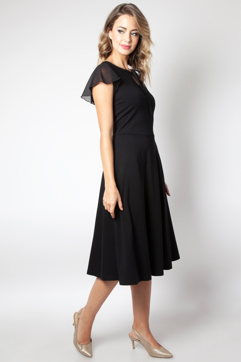 Victoria Black Flutter Sleeve Dress