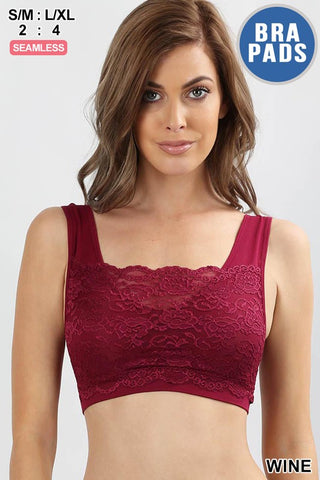 Seamless Bralette With Front Lace Cover in Brick