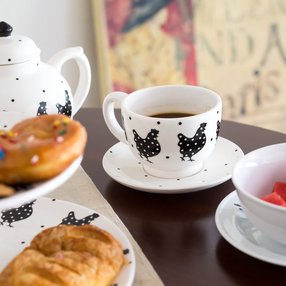 Polka Dot Rooster Teacup