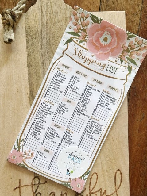 Vintage Mason Jar Shopping List Pad
