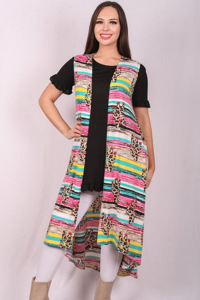 2002b057b194 Long Multi Colored Striped Vest with Leopard Print Cactus – The ...