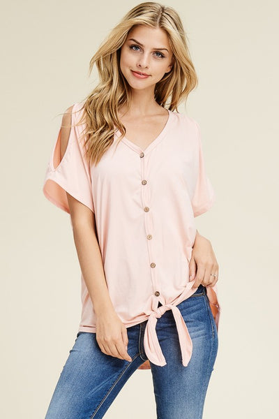 776f1112c47f3d Cold Shoulder Button Down Top with Tie Front – The Southern Way ...