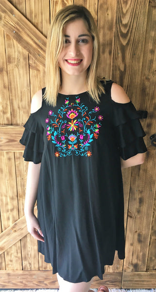 2ffd709ea1a0a Cold Shoulder Shift Dress with Floral Embroidery – The Southern Way ...