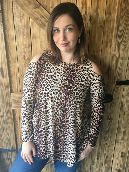 47bc45524f6fd Long Sleeve Cold Shoulder Leopard Print Tunic – The Southern Way ...
