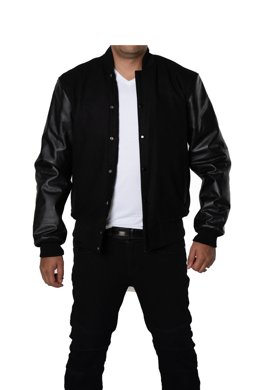 Black Varsity Bomber Baseball Quilted Genuine Cow Leather Zipper