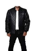 Solid Black Varsity Bomber Baseball Quilted Genuine Cow Leather