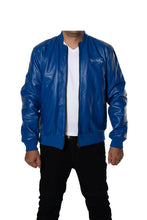 Blue Varsity Bomber Baseball Quilted Genuine Cow Leather Zipper
