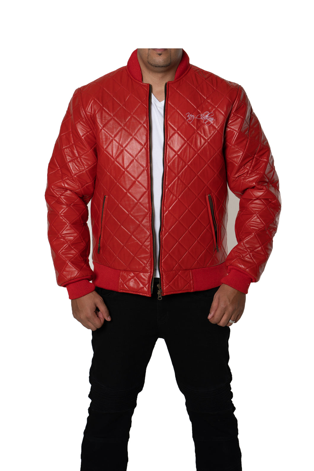 Red Varsity Bomber Baseball Quilted Genuine Cow Leather Zipper