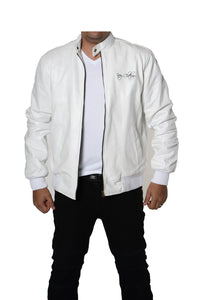 White Varsity Bomber Baseball Quilted Genuine Cow Leather Zipper