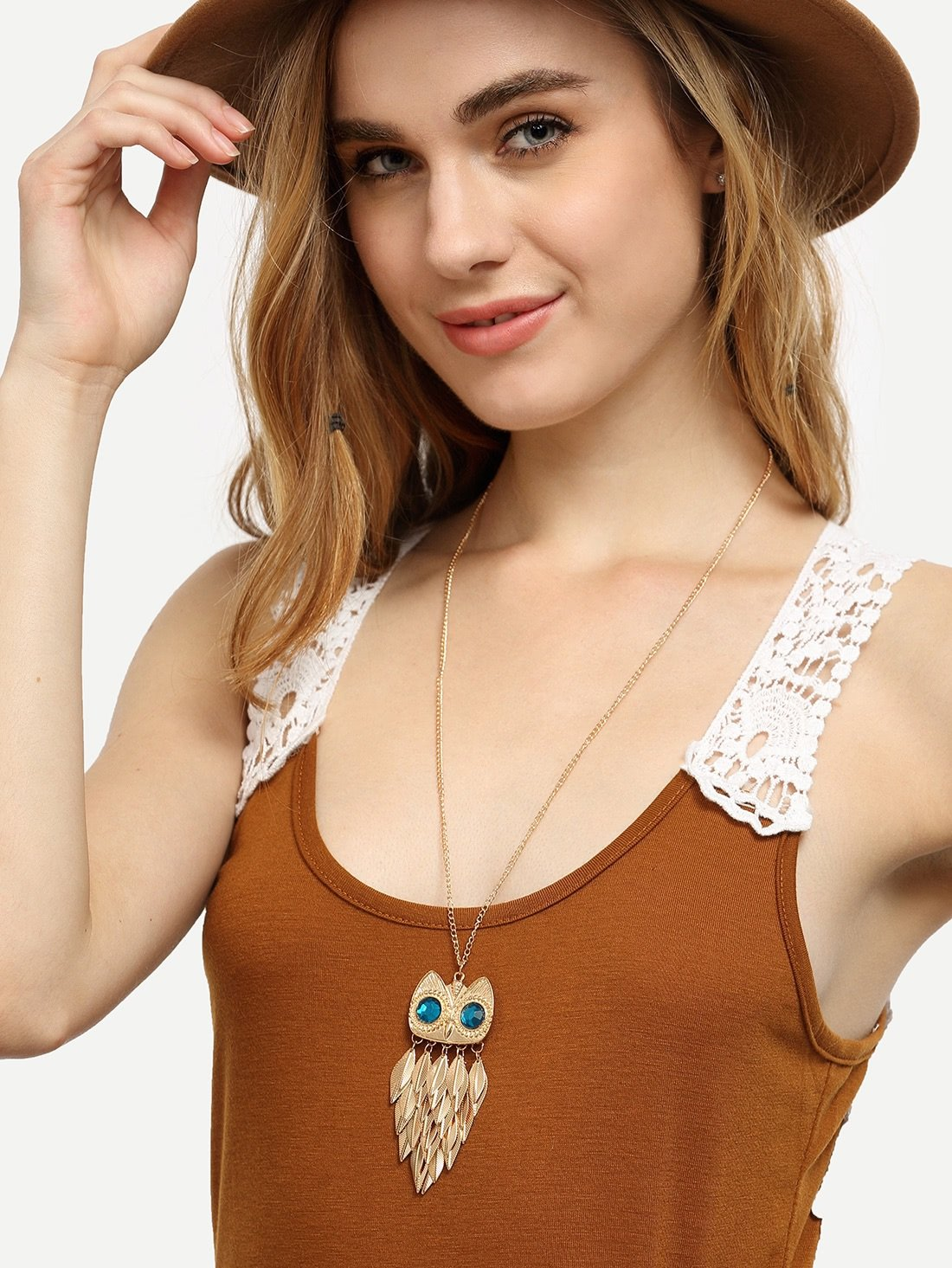Golden Leaf Owl Alloy Pendant Necklace -  | Cosmetics Diary