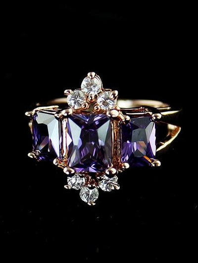 Rose gold fancy men and women ring purple zircon crown ring -  | Cosmetics Diary