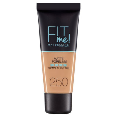Maybelline New York Fit Me Matte + Poreless Foundation - Sun Beige 250 | Cosmetics Diary