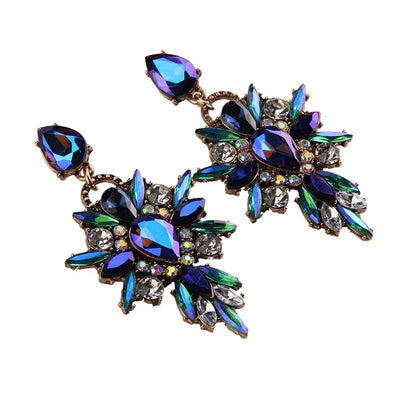 Colorful Flower Luxury Starburst Pendant Crystal Stud Earrings - Large -  | Cosmetics Diary