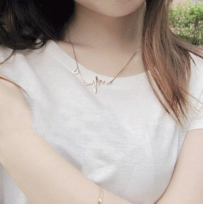 Wave Heart Necklace Pendant Silver/Gold Women Jewelry -  | Cosmetics Diary
