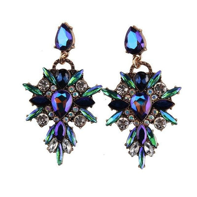 Colorful Flower Luxury Starburst Pendant Crystal Stud Earrings - Large - Default Title | Cosmetics Diary
