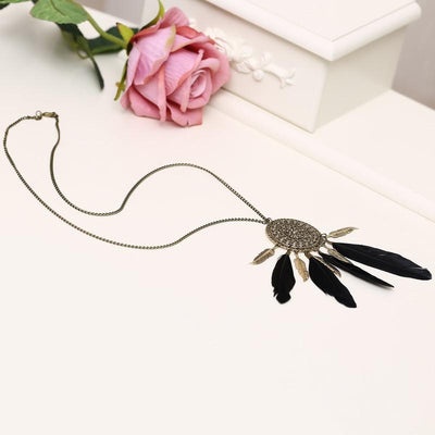 Tassel Feather Bohemian Long Pendant Necklace - Cosmetics Diary