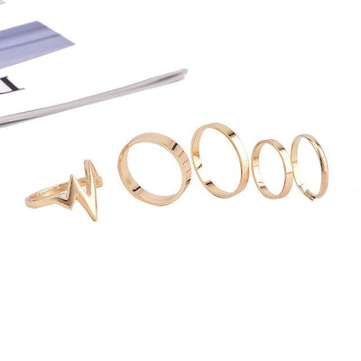 5Pcs/Set Punk Rock Gold Stack Plain Band Mid Finger Knuckle Rings Set for Women - Default Title | Cosmetics Diary