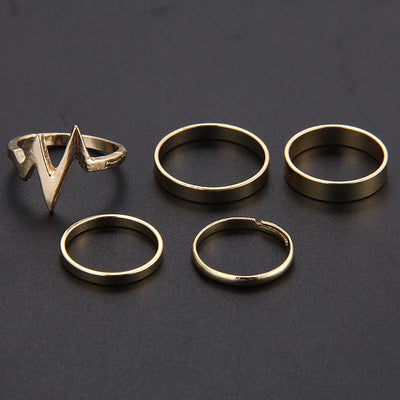 5Pcs/Set Punk Rock Gold Stack Plain Band Mid Finger Knuckle Rings Set for Women -  | Cosmetics Diary