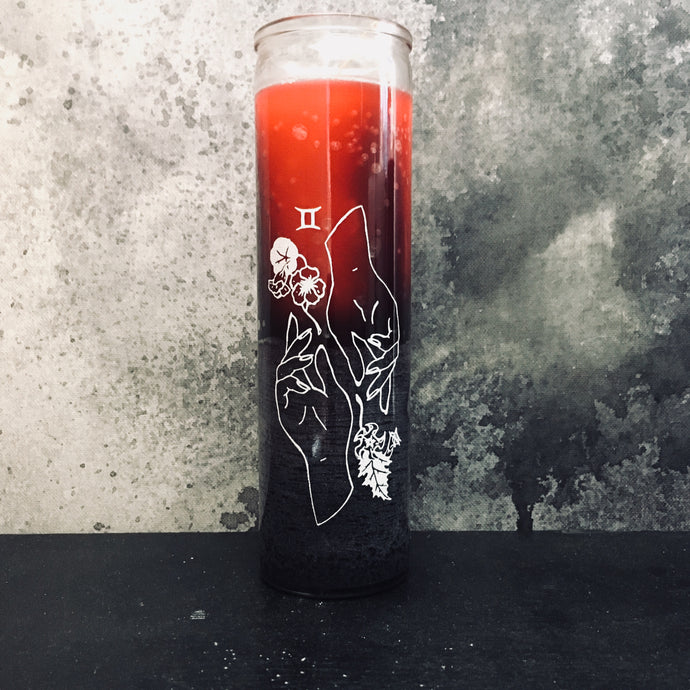 GEMINI- hand silk screened 7 day candle