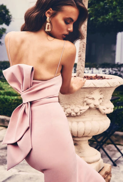 Pink Strapless Bow Back Midi Dress