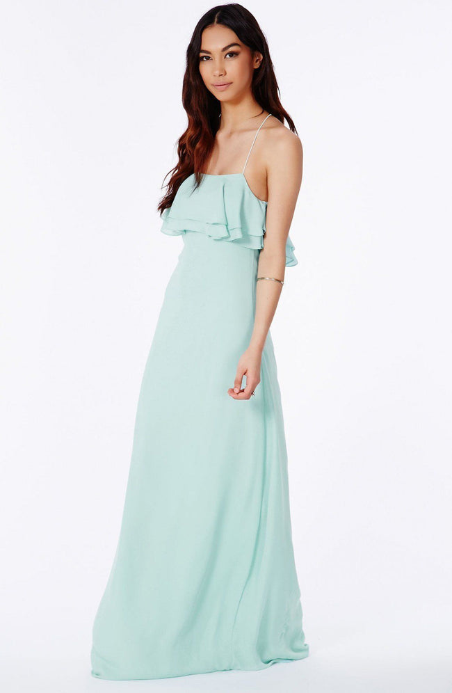 Ruffled Aqua Blue Maxi Dress - DIOR BELLA