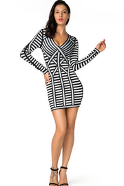 Black And White Long Sleeve Bandage Mini Dress