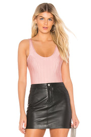 Pink Scoop Neck Textured Bandage Bodysuit