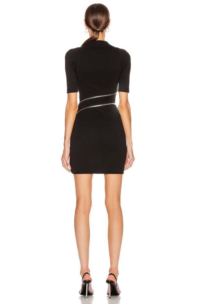 Black Mock Neck Zipper Mini Dress