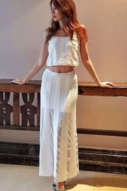 White Lace Bandage Tank Top Maxi Skirt Set - DIOR BELLA