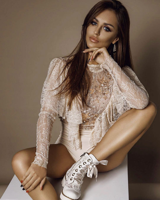 Lace Mock Neck Long Sleeve Bodysuit - DIOR BELLA