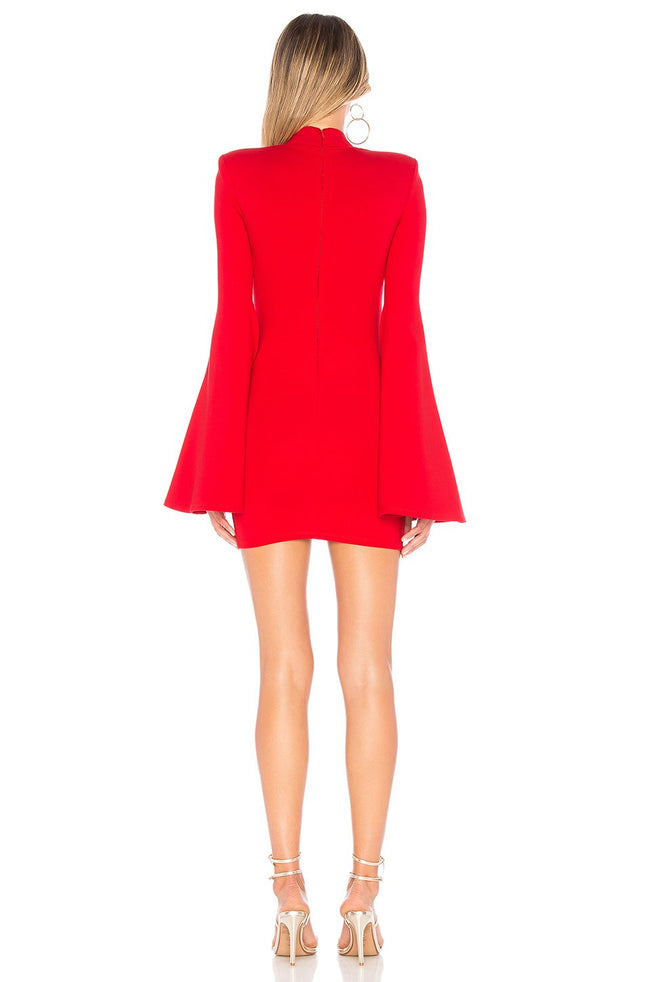 Red Split Sleeve Bandage Mini Dress - DIOR BELLA